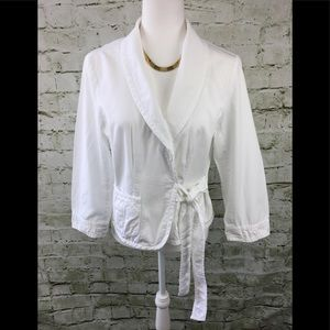 J. Crew White Wrap Tie Belted Collar Blazer Jacket